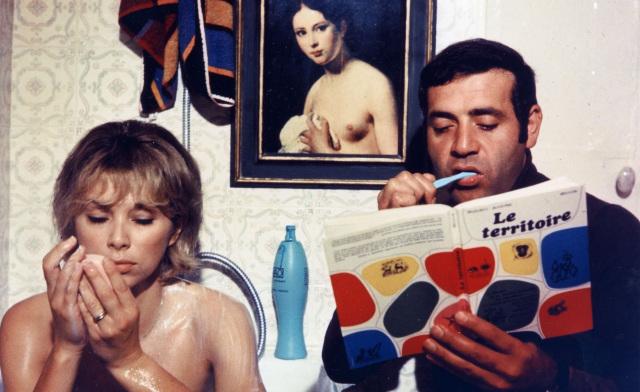 Mireille Darc (left) and Jean Yanne (right) in Jean-Luc Godard's