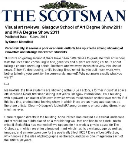 'MFA degree show', 2011, Glue Factory, Glasgow