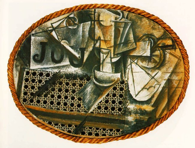 picasso-1912-still-Life-with-Chair-Caning-1st-collage-synthetic-cubism