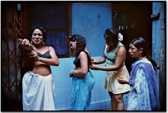 "Original Mary Ellen Mark photograph from the project ""Falkland Road"". ""Transvestites getting dressed in a courtyard.Falkland Road, Bombay, India"" , 1978."